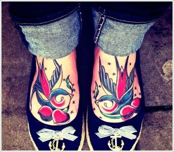 Bold traditional swallow tattoo, artist unknown #traditional #swallow #swallows #bird #foot #matching