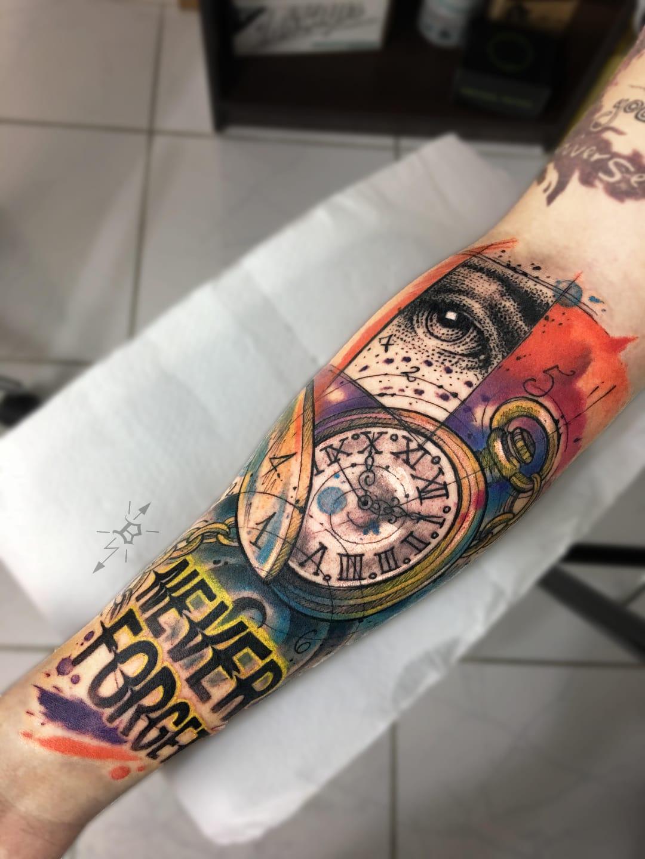 #BrandonBec #brasil #brazil #brazilianartist #colorido #colorful #relogio #clock #tempo #time #olho #eye #pontilhismo #dotwork
