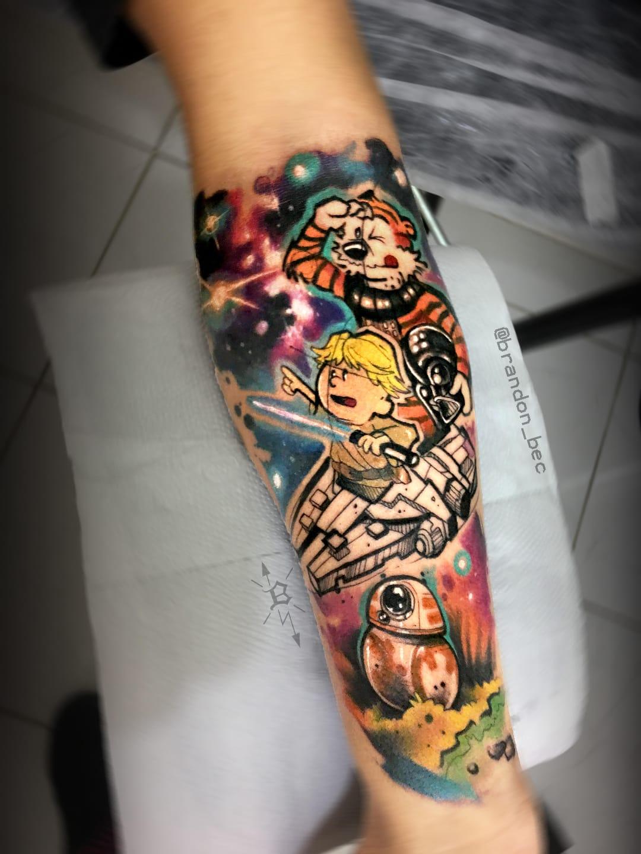 #BrandonBec #brasil #brazil #brazilianartist #colorido #colorful #calvineharoldo #calvinandhobbes #starwars #bb8 #nerd #geek #sketch #milleniumfalcon #galaxy #galaxia #darthvader