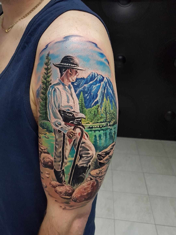 #MarekHaras #gringo #realismo #realism #realismocolorido #colorido #colorful #homem #man #rio #river #arvore #tree #montanha #hill