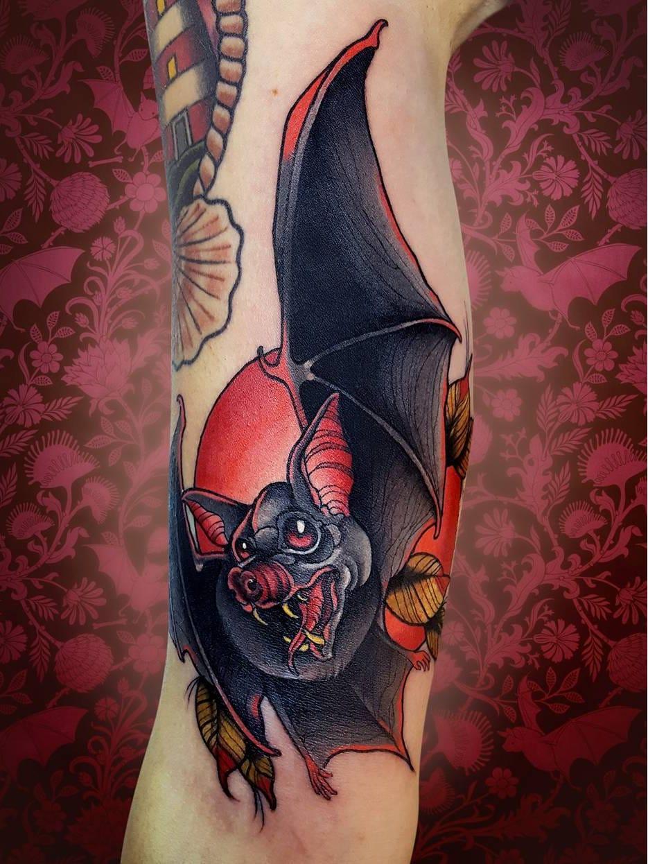 #NiktheRookie #gringo #neotraditional #neotrad #colorido #colorful #morcego bat #folha #leaf