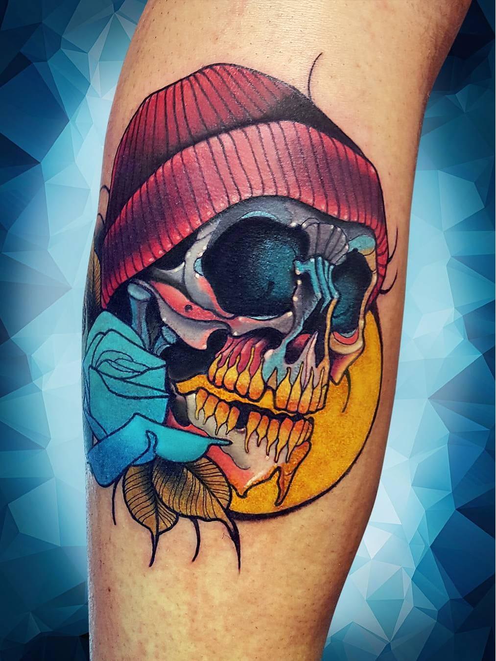 #NiktheRookie #gringo #neotraditional #neotrad #colorido #colorful #skull #caveira #cranio #flor #flower #rose #rosa #folha #leaf