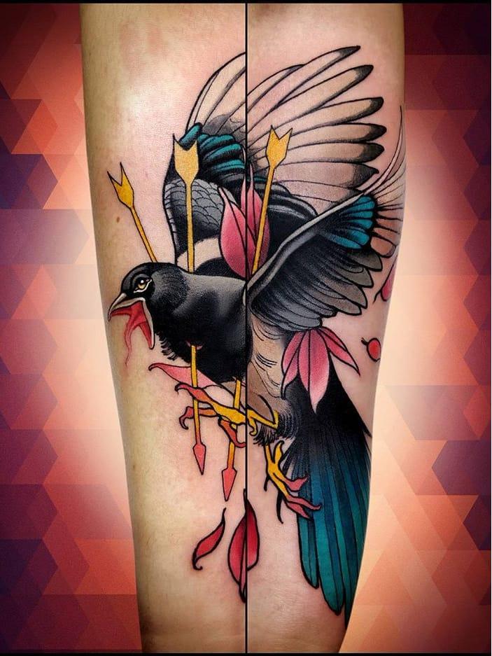 #NiktheRookie #gringo #neotraditional #neotrad #colorido #colorful #passaro #bird #ave #flecha #arrow
