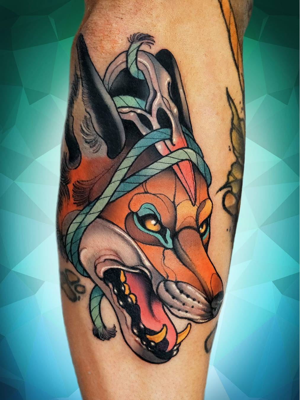 #NiktheRookie #gringo #neotraditional #neotrad #colorido #colorful #lobo #wolf #raposa #fox