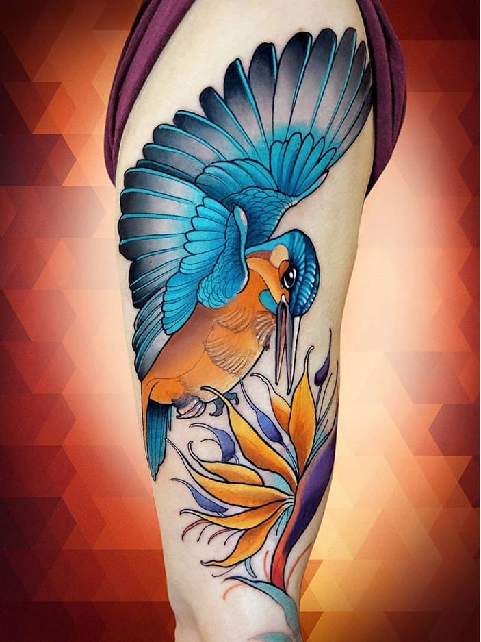 #NiktheRookie #gringo #neotraditional #neotrad #colorido #colorful #ave #passaro #bird #flor #flower #planta #plant
