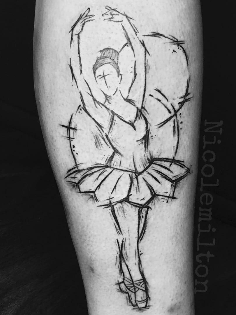 #NicoleMilton #balé #ballet #dance #dança #ballettattoo #bailarina #balerina #blackwork #sketch #woman #mulher #pontilhismo #dotwork