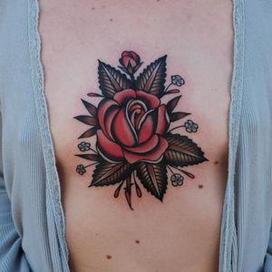 Rose tattoo by Ivan Antonyshev #IvanAntonyshev #flowertattoos #color #traditional #rose #leaves #rosebud #daisy #flowers #floral #nature #tattoooftheday