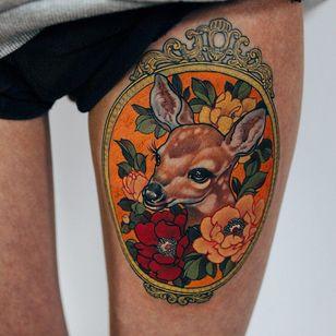 Deer with peonies tattoo by Jinpil Yuu #JinpilYuu #flowertattoos #color #newtraditional #Japanese #realism #mashup #deer #flowers #floral #frame #animal #leaves #nature #tattoooftheday