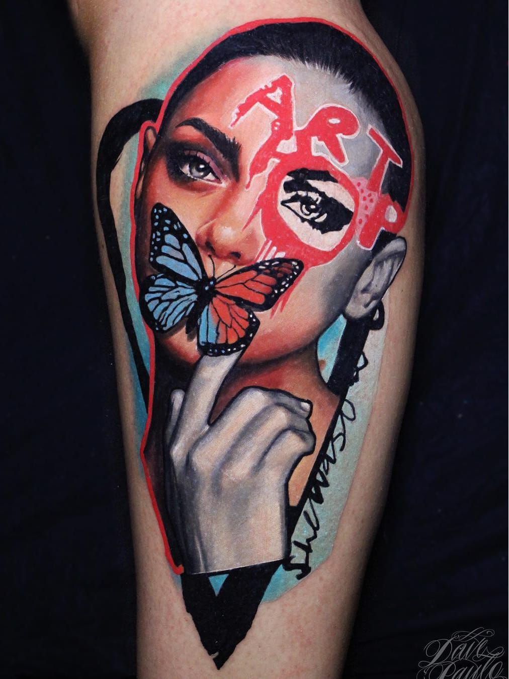 #DavePaulo #gringo #realismo #realism #colorido #colorful #portrait #retrato #colagem #collage #woman #mulher #hand #mao #borboleta #butterfly #pretoecinza #blackandgrey