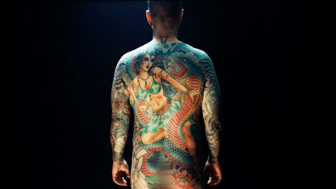Chris Garver #ChrisGarver #JoeVegas #bodysuit #snake #reptile #lady #warrior #Japanese #color #residentartists #thetattooshop #miami #wynwood #tvseries #facebookwatch