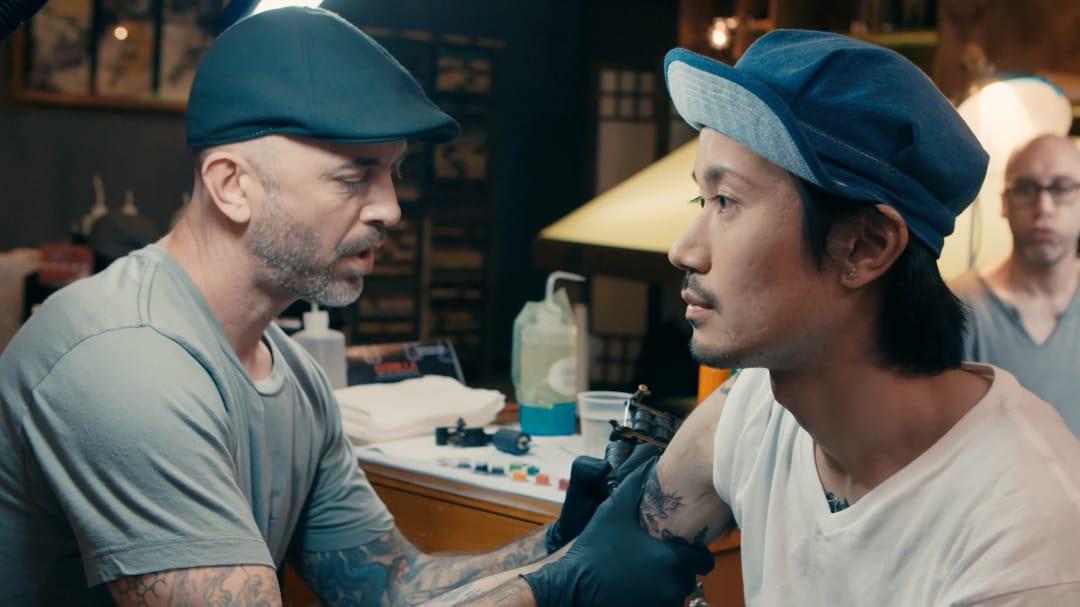 Garver tattooing Taiki #ChrisGarver #TaikiMasuda #residentartists #thetattooshop #miami #wynwood #tvseries #facebookwatch