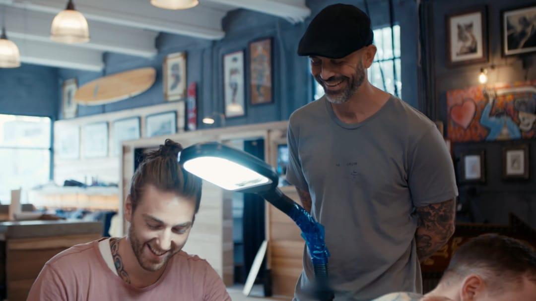 Christopher Henriksen and Chris Garver #ChrisGarver #ChrisopherHenriksen #residentartists #thetattooshop #miami #wynwood #tvseries #facebookwatch