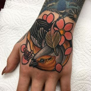 Hand tattoos by Mitchell Allenden #MitchellAllenden #handtattoos #color #neotraditional #bird #feathers #wings #cherryblossom #flower #floral #nature