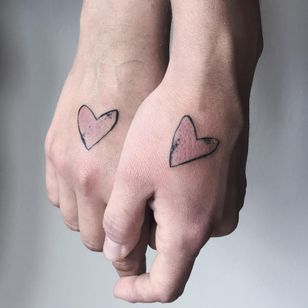 Heart tattoos by Duhovka #Duhovka #handtattoos #linework #heart #illustrative #watercolor #matchingtattoos #coupletattoos #love