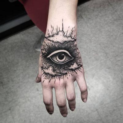 All Seeing Eye tattoo by Thomas E #ThomasE #handtattoos #blackwork #illustrative #clouds #sky #light #sun #allseeingeye #eye #thirdeye