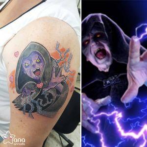 #AnaBoueri #tatuadorasdobrasil #nerd #geek #pop #anime #palpatine #darthsidious #starwars #filmes #movies #colorido #colorful