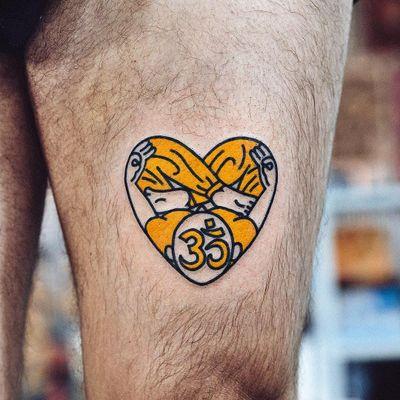 Buddha heart tattoo by Woo Loves You #WooLovesYou #WoohyunHeo #hearttattoos #newtraditional #newschool #Buddha #heart #om #symbol #meditation #Buddhism