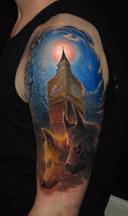Wolf tattoo by Piotr Deadi Dedel #wolf #wolftattoo