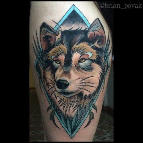 Creative wolf tattoo, artist unknown. #creative #wolf #wolftattoo