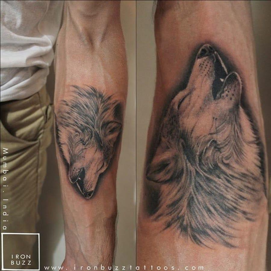 Wolf tattoo, artist unknown.