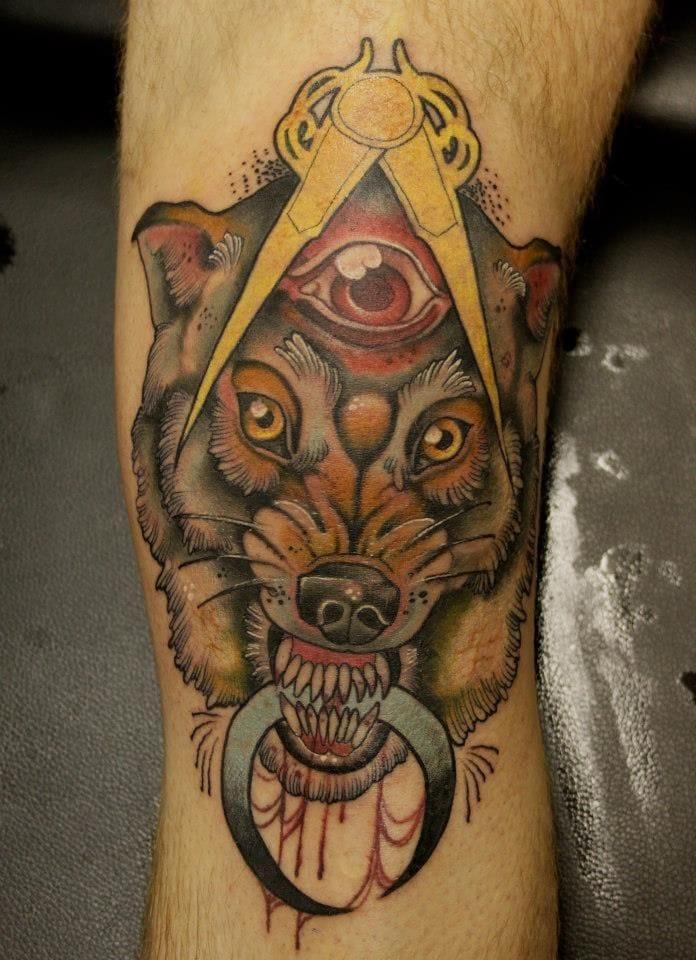 Wolf tattoo by Jeff Gogue #wolf #wolftattoo