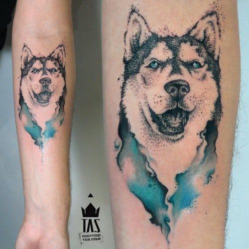 Watercolor wolf tattoo, artist unknown. #wolf #wolftattoo