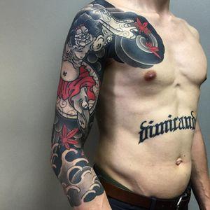 Tattoo by Sergey Buslay #SergeyBuslay #tattoodoambassador #Japanese #irezumi #raijin #deity #thunder #god #waves #smoke #clouds #mapleleaves #leaves #storm #pattern