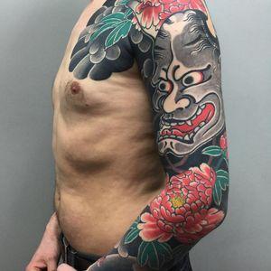 Tattoo by Sergey Buslay #SergeyBuslay #tattoodoambassador #Japanese #irezumi #peony #flower #floral #hannya #hannyamask #mask #clouds #leaves #nature #folklore #yokai