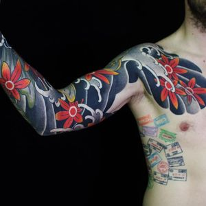 Tattoo by Sergey Buslay #SergeyBuslay #tattoodoambassador #Japanese #irezumi #clouds #waves #leaves #mapleleaves #fall #nature