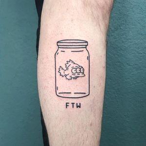 Tattoo by TheMagicRosa #TheMagicRosa #thesimpsons #Simpsons #cartoon #newschool #tvshow #tvshowtattoo #linework #illustrative #blackwork #ftw #blinky #fish