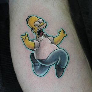 Tattoo by Trish Donnelly #TrishDonnelly #thesimpsons #Simpsons #cartoon #newschool #tvshow #tvshowtattoo #color #homersimpson