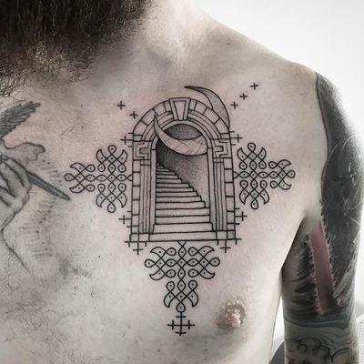 Tattoo by Johno #Johno #fantasytattoo #fantasytattoos #fantasy #magic #stairway #portal #moon #pattern #linework #illustrative #door #dotwork #fairytale #legend