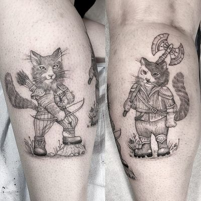 Tattoo by Anka #Anka #fantasytattoo #fantasytattoos #fantasy #magic #DND #dungeonsanddragons #cat #kitty #warrior #knights #soldier #bowandarrow #axe #armor #illustrative #linework #fineline