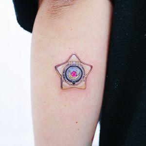 Tattoo by Heemee #Heemee #fantasytattoo #fantasytattoos #fantasy #magic #star #sailormoon #locket #realism #realistic #hyperrealism #fairytale #superhero #superpower #moon #sparkle