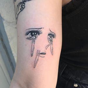 Tattoo by Mick Hee #MickHee #illustrative #surreal #anime #manga #eyes #tears #strange #sadgirl