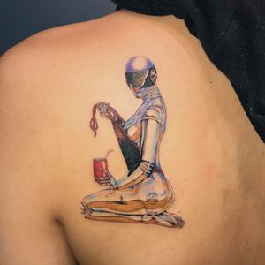 Tattoo by Mick Hee #MickHee #illustrative #surreal #SorayamaHajime #robot #scifi #babe #pinup #lady #color