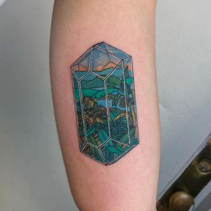 Tattoo by Mick Hee #MickHee #illustrative #surreal #landscape #gem #jewel #island #palmtrees #island #nature