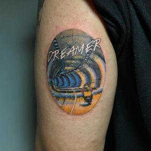 Tattoo by Mick Hee #MickHee #illustrative #surreal #movietattoo #FallenAngels #motorcycle #dreamer #filmstill