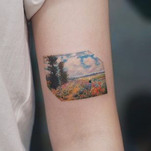 Watercolor tattoo by Saegeem #Saegeem #watercolortattoo #watercolor #painterly #fineart #painting #color #Monet #flowers #floral #leaves #nature #sky #trees #landscape