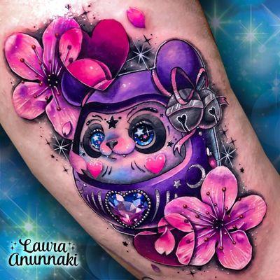 Tattoo by Laura Anunnaki #LauraAnunnaki #newschooltattoo #newschool #color #darumadoll #panda #bear #sparkle #gem #flower #cherryblossoms #moon #star #bell #cute