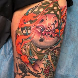 Tattoo by DJ Tambe and Josh Payne #DjTambe #JoshPayne #newschooltattoo #newschool #color #hyottoko #funny #fire #mask #comic