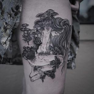 Illustrative Tattoo by Ruby Wolfe #RubyWolfe #illustrativetattoos #illustative #portrait #lady #mushrooms plants #nature #surreal