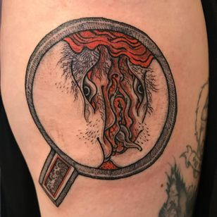 My tattoo by Ganji at Three Tides - Tattooed Travels: Tokyo, Japan #TattooedTravels #Tokyo #Japan #Ganji #GanjiBank #BangGanji #ThreeTides #yokai #monster #shunga #demon #Japanese