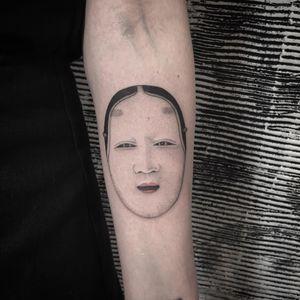 Tattoo by Azusa at Three Tides - Tattooed Travels: Tokyo, Japan #TattooedTravels #Tokyo #Japan #Azusa #ThreeTides #mask #nohmask #Noh #portrait #Japanese