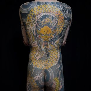 Tattoo by Ichi at Ichi Tattoo Studio - Tattooed Travels: Tokyo, Japan #TattooedTravels #Tokyo #Japan #dragon #bodysuit #clouds #fire #irezumi #Japanese