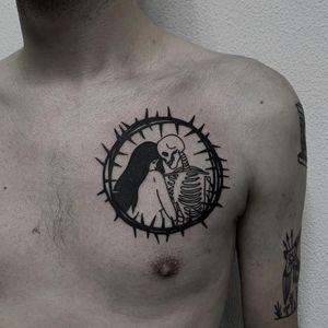Tattoo by Andei Ylita #AndreiYlita #thorntattoos #thorntattoo #thorns #thorn #nature #plant #portrait #lady #skeleton #skull #death #love #illustrative