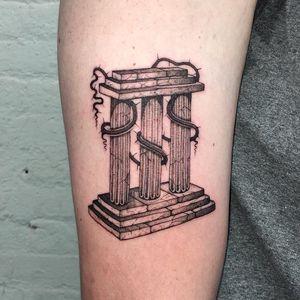 Tattoo by Carson Flowie #CarsonFlowie #thorntattoos #thorntattoo #thorns #thorn #nature #plant #illustrative #column #greek