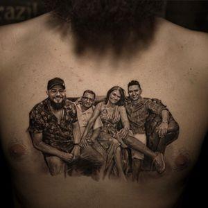 Tattoo by Niki Norberg #NikiNorberg #chesttattoos #chesttattoo #chest #blackandgrey #realism #realistic #hyperrealism #family #love #portrait