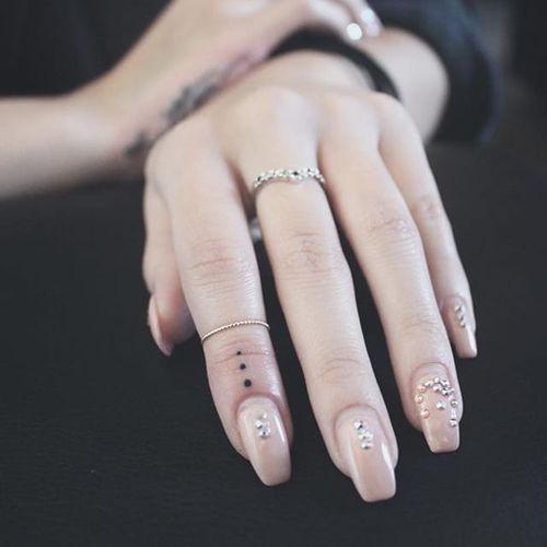 Three dot tattoo by Prove #Prove #threedottattoo #Meaningfultattoo #handtattoo #fingertattoo