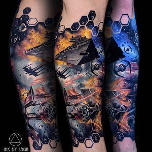 Star Wars tattoo by Saga Anderson #SagaAnderson #StarWarstattoos #StarWarstattoo #StarWars #GeorgeLucas #movietattoo #filmtattoo #space #galaxy #scifi